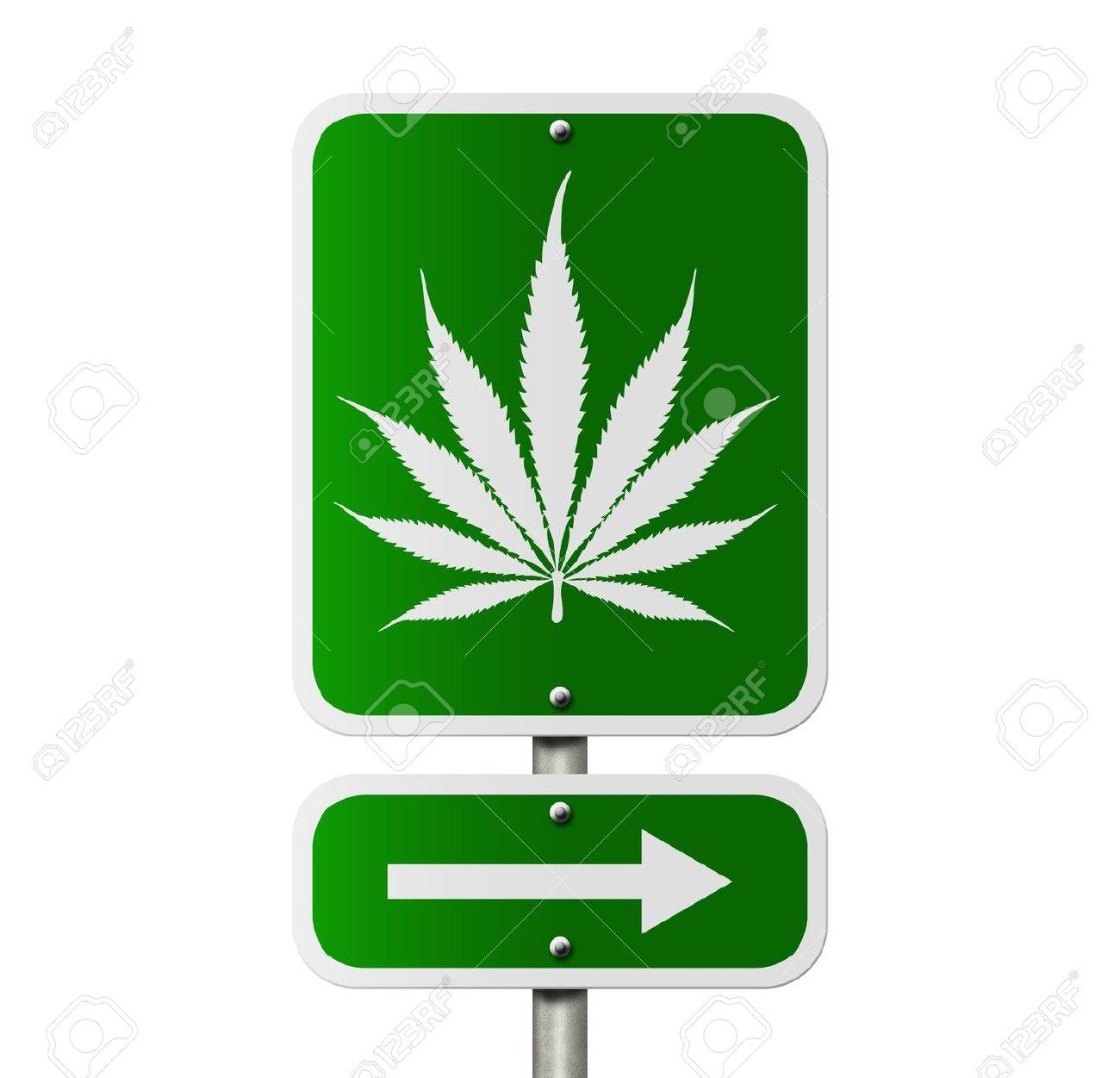 An American road sign isolated on white and marijuana leaf and arrow, Marijuana this way Stock Photo - 15200982