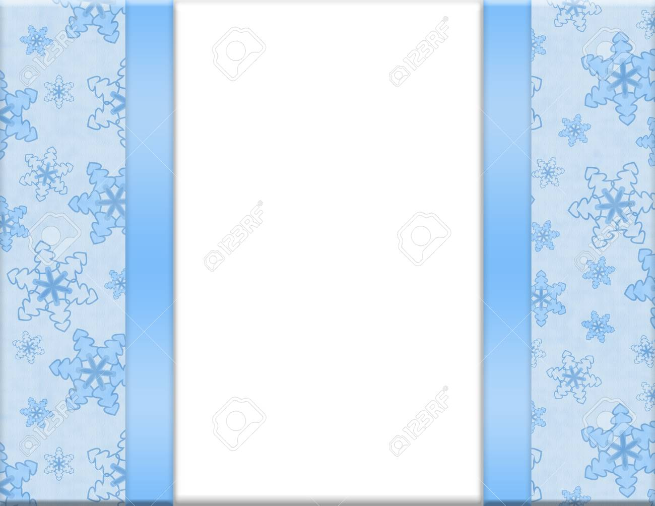 Blue and White Snowflake Frame for your message or invitation with copy-space in the middle Stock Photo - 15658482
