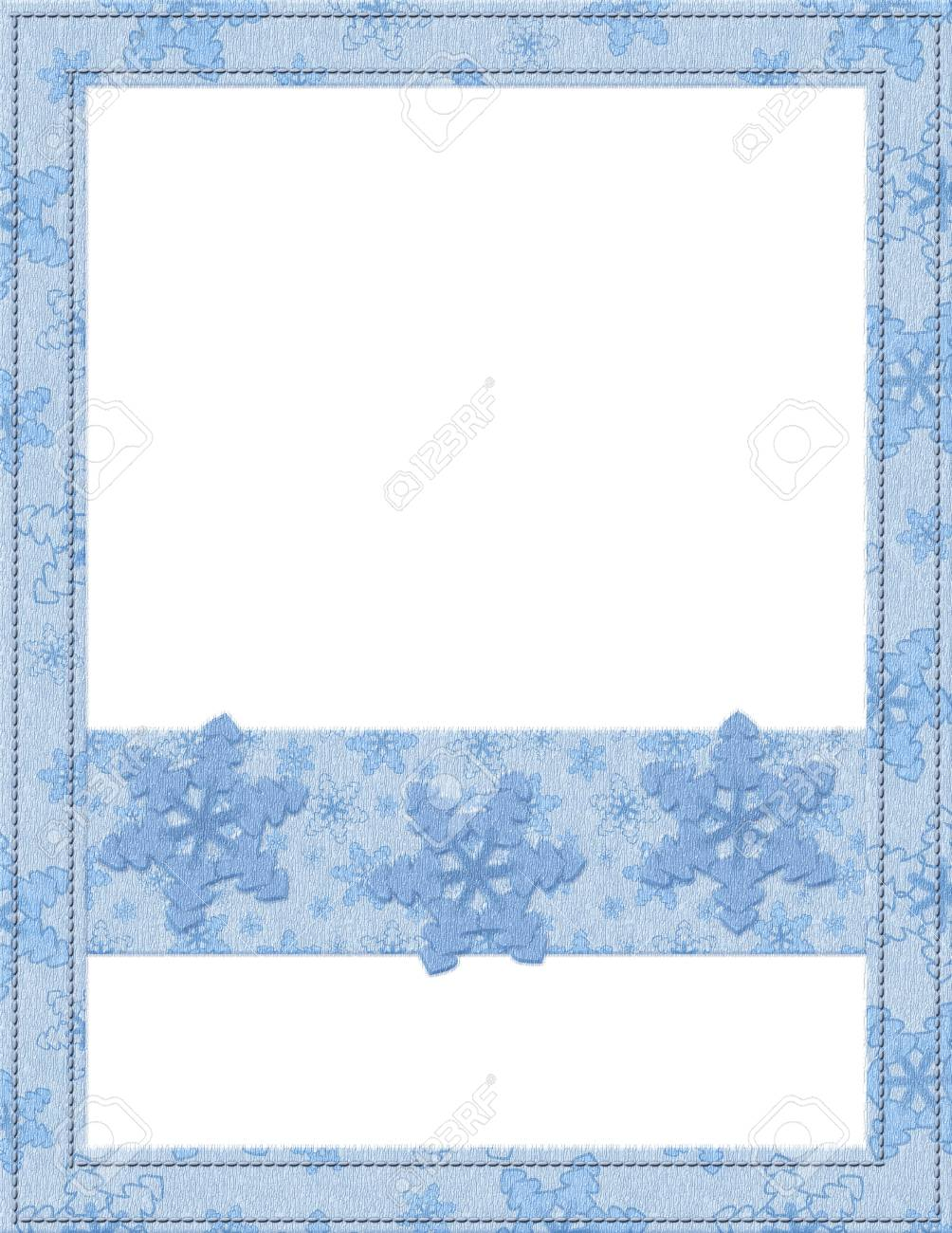 Blue and White Snowflake Frame for your message or invitation with copy-space in the middle Stock Photo - 15912655