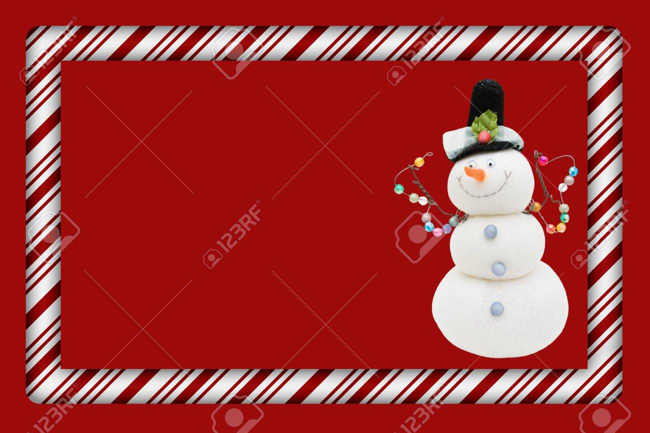 Candy Cane with Snowman Frame for your message or invitation with copy-space in the middle Stock Photo - 15912657