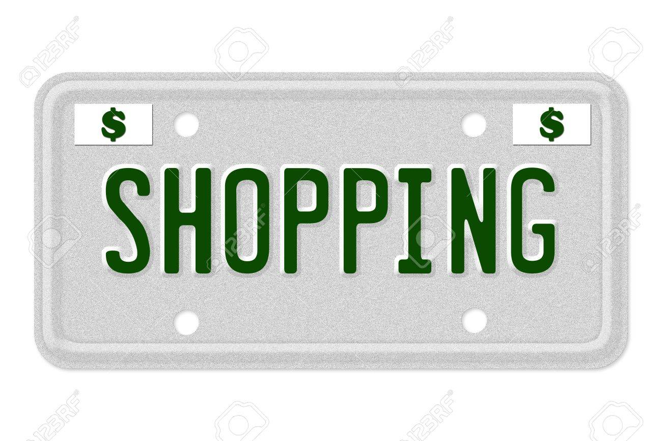 The Word Shopping On A Gray License Plate With Dollar Sign Symbol ...