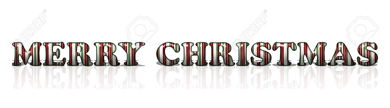 The Words Merry Christmas In Candy Cane Colors Isolation Over ...