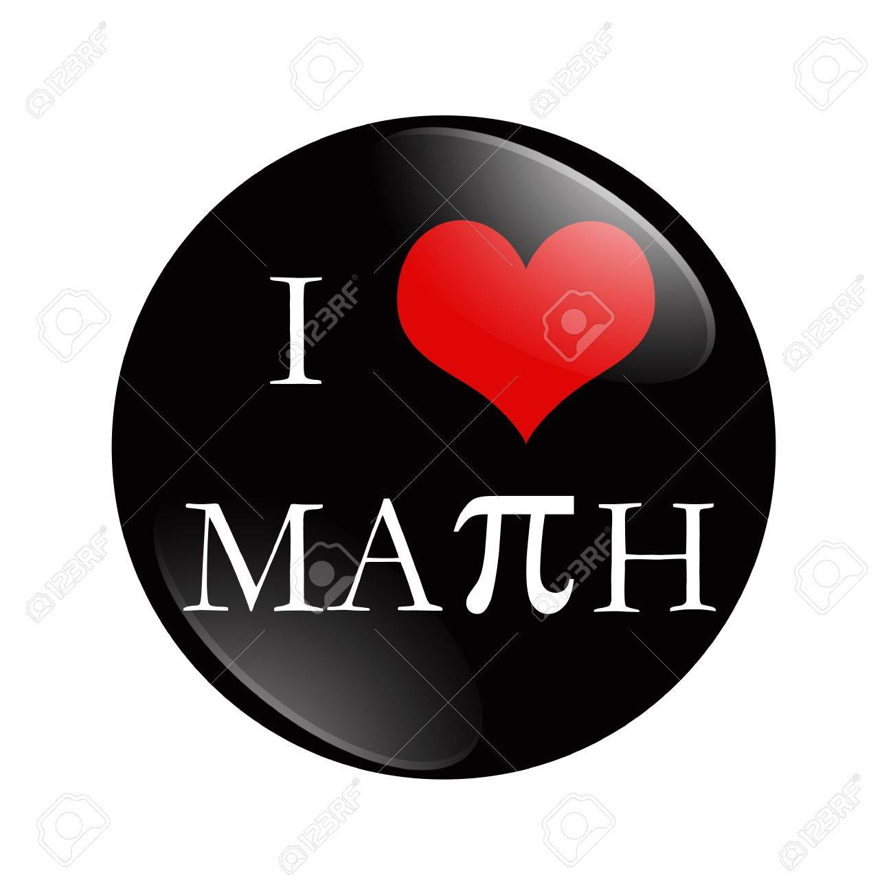 i love math button, a black and red button with words i love.. stock