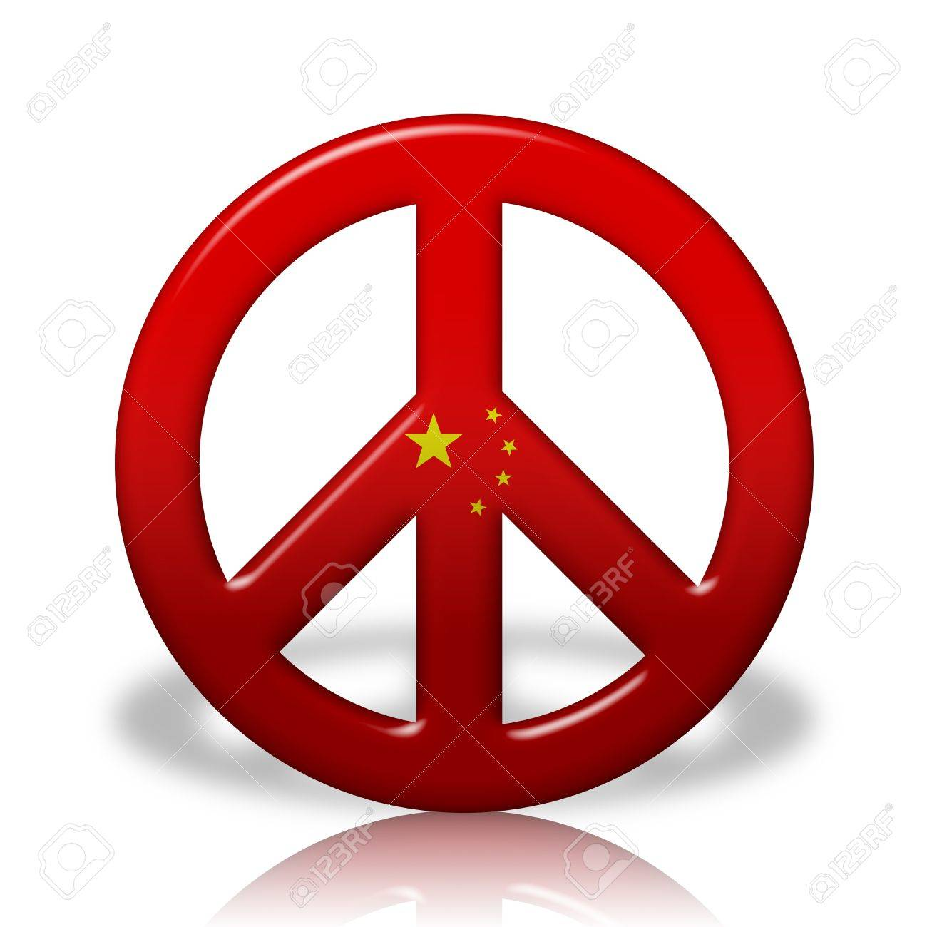 A Peace Sign Symbol In 3d Flag Colors Of China Peace In China Stock