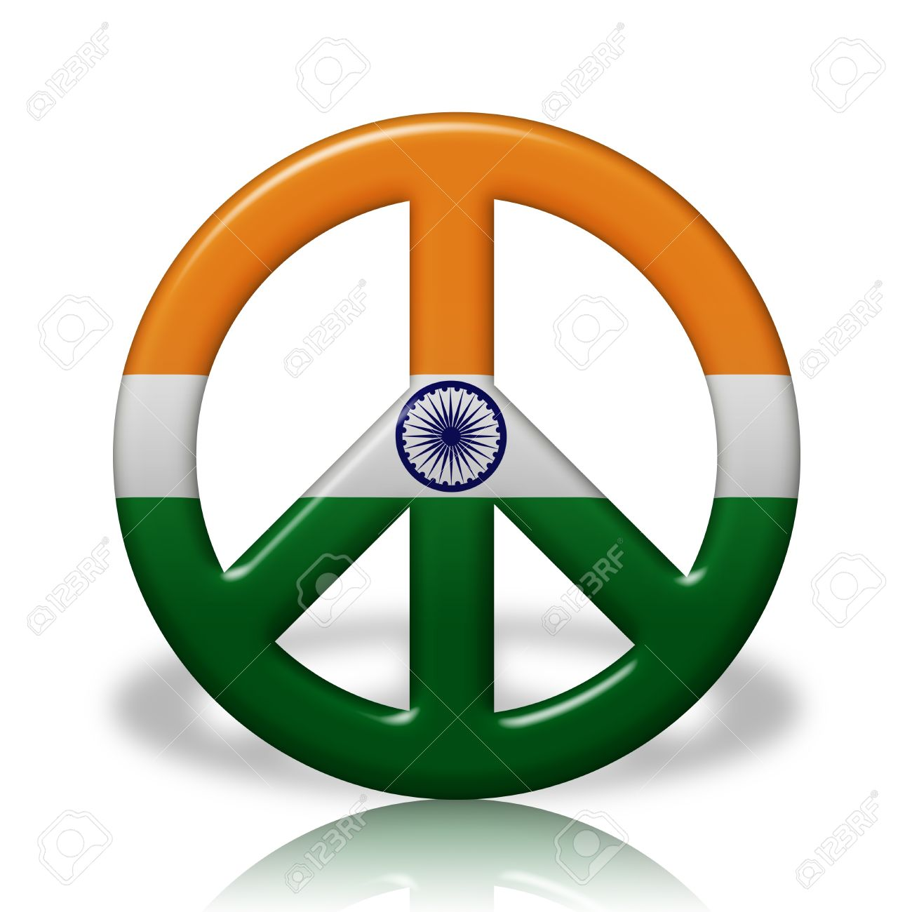 A Peace Sign Symbol In 3d Flag Colors Of India Peace In India Stock