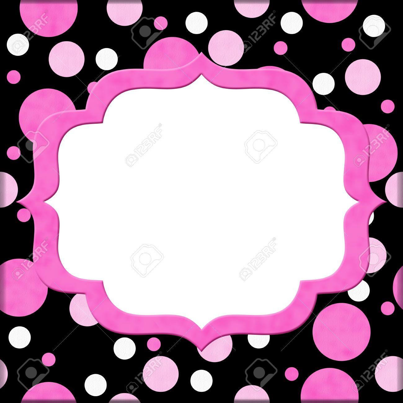 pink polka dot invites
