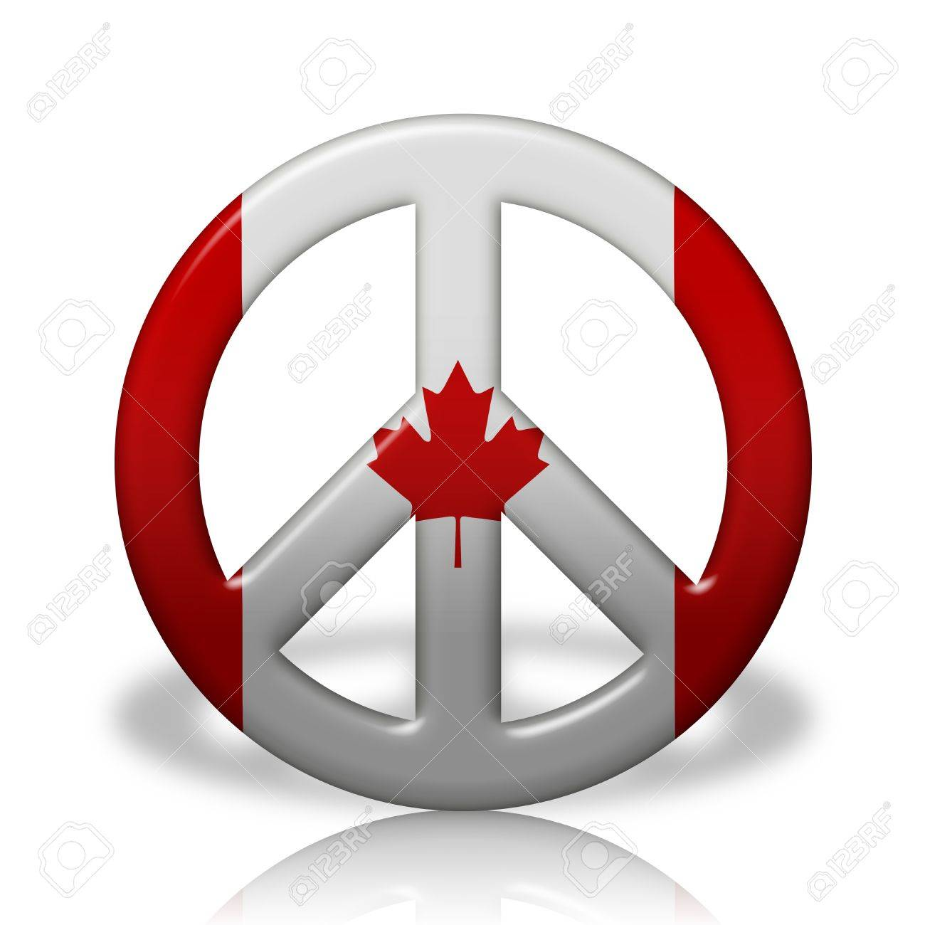A peace sign symbol in 3d flag colors of canada peace in canada a peace sign symbol in 3d flag colors of canada peace in canada stock photo biocorpaavc