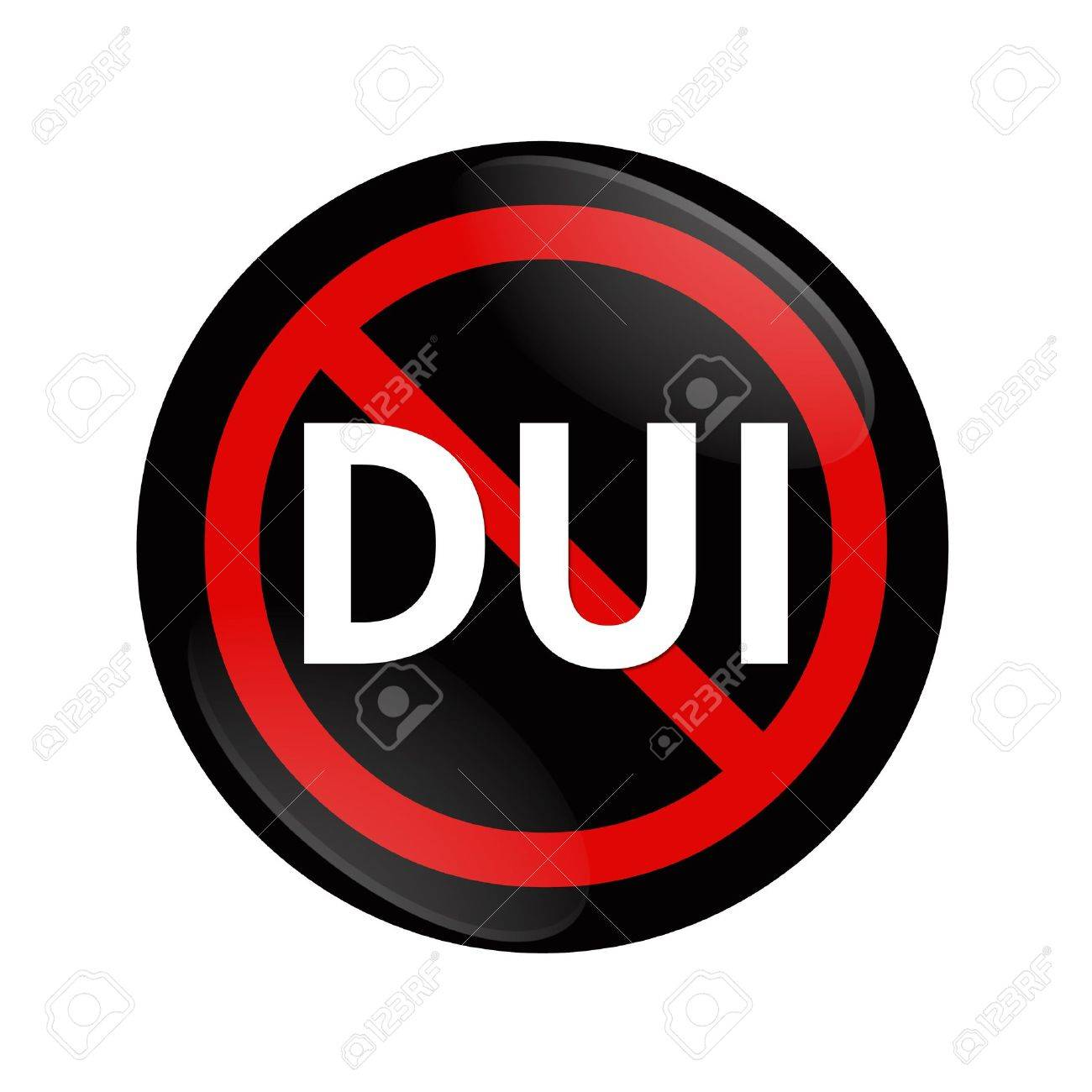A black and red  button with word DUI and not symbol isolated on white, Stop Drinking and Driving Stock Photo - 17996667
