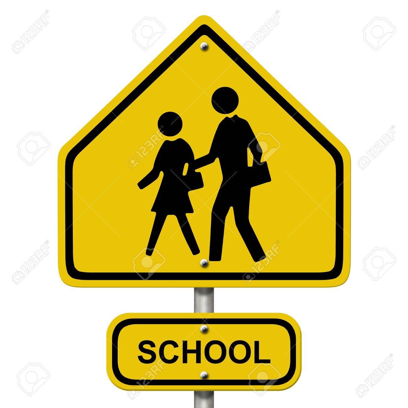 An american road warning sign isolated on white with people and an american road warning sign isolated on white with people and word school school crosswalk buycottarizona Choice Image