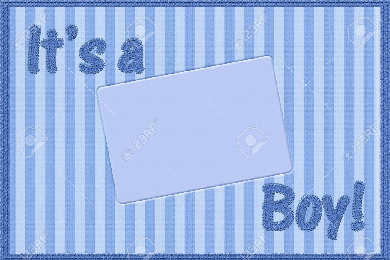 stock photo words it is a boy sewn on blue striped material it is a boy baby announcement