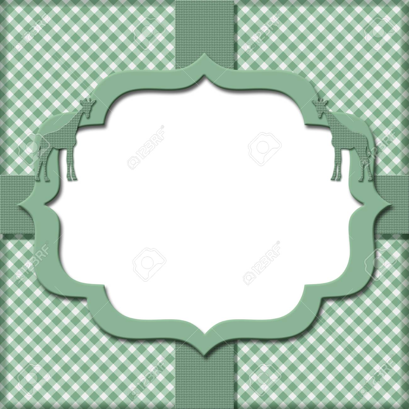 Green Gingham with Ribbon Background for your message or invitation with copy-space in the middle Stock Photo - 18874683