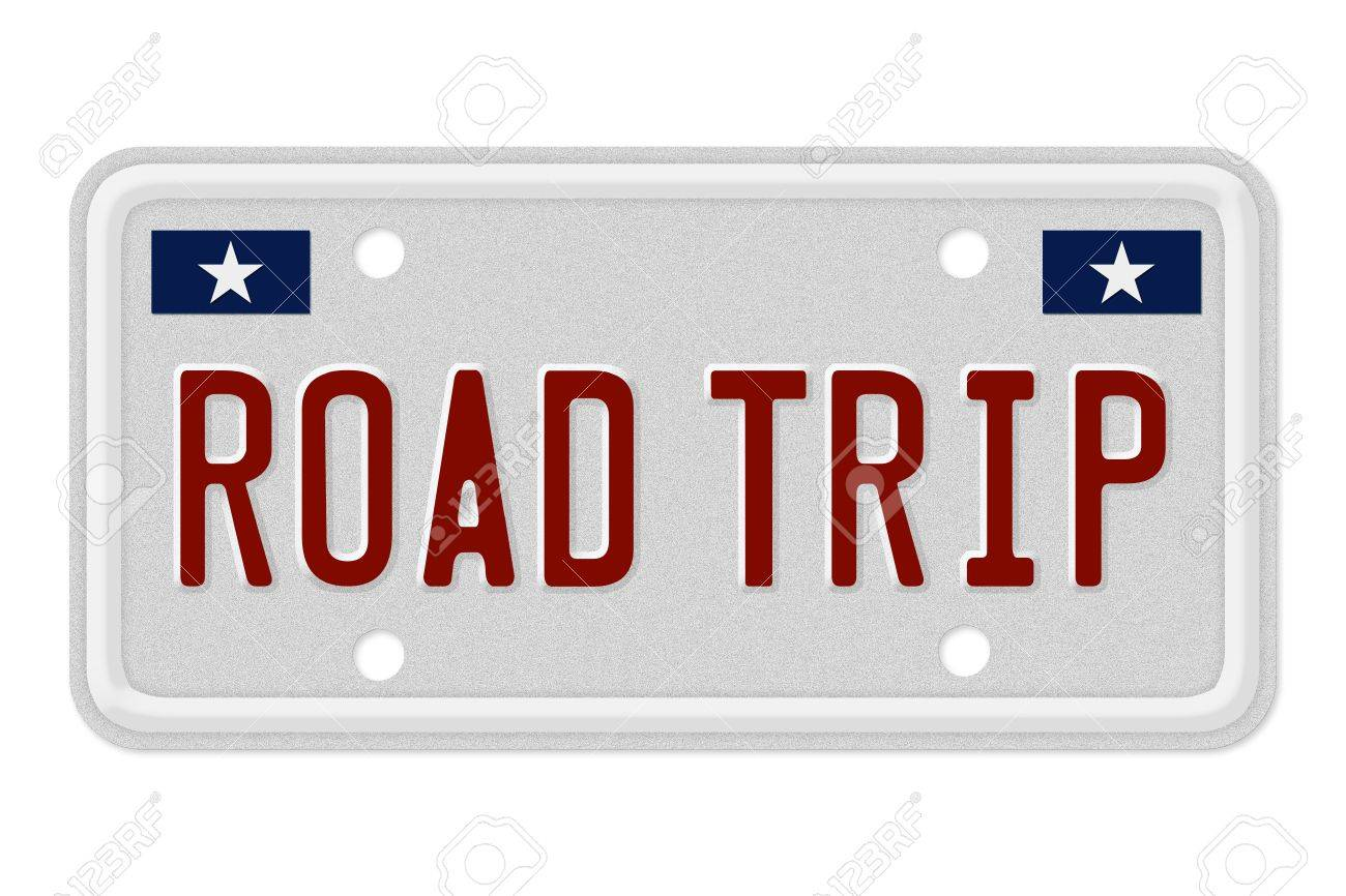 the words road trip on a gray license plate isolated on white