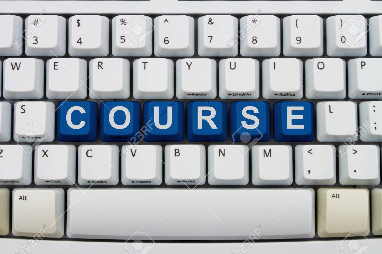computer keyboard keys with word course courses available online