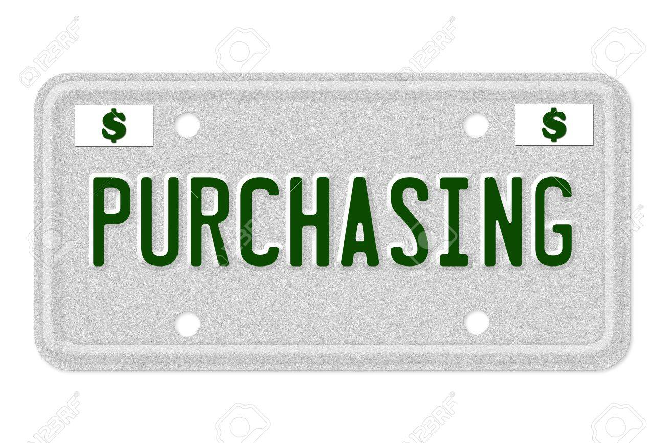 the word purchasing on a gray license plate with dollar sign
