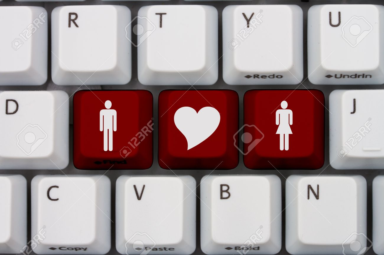 Computer keyboard keys with symbols of man and woman and a heart computer keyboard keys with symbols of man and woman and a heart internet dating stock buycottarizona Images