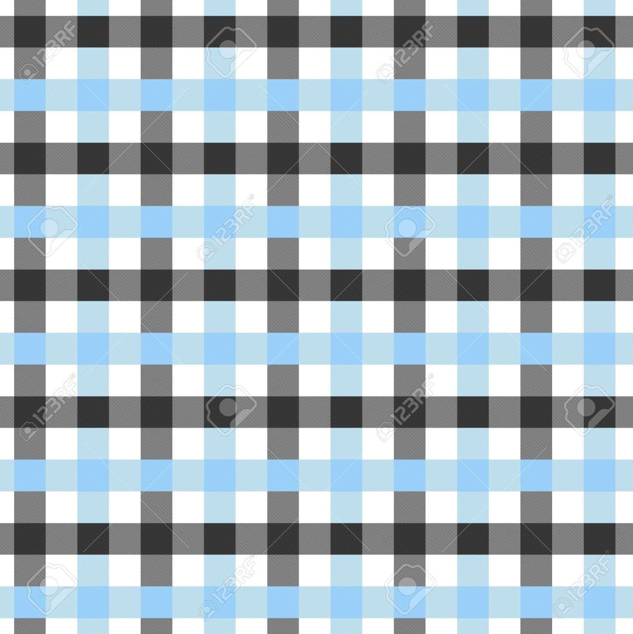 Blue, White And Black Plaid Textured Fabric Background That Is ...