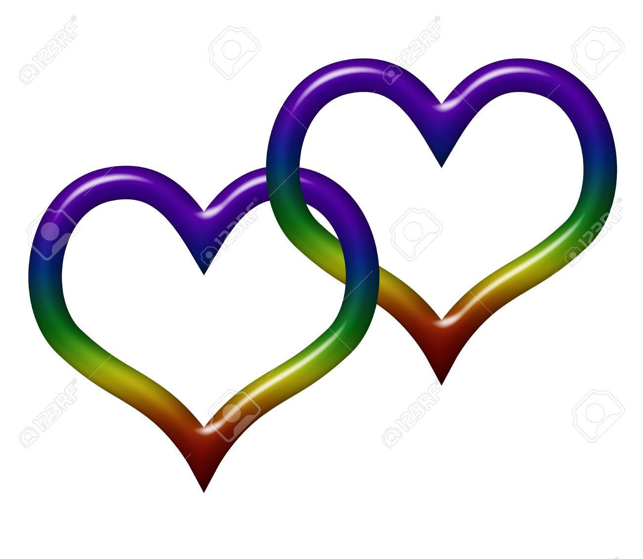 Two heart symbols in lgbt flag colors isolated on white with two heart symbols in lgbt flag colors isolated on white with copy space gay biocorpaavc Choice Image