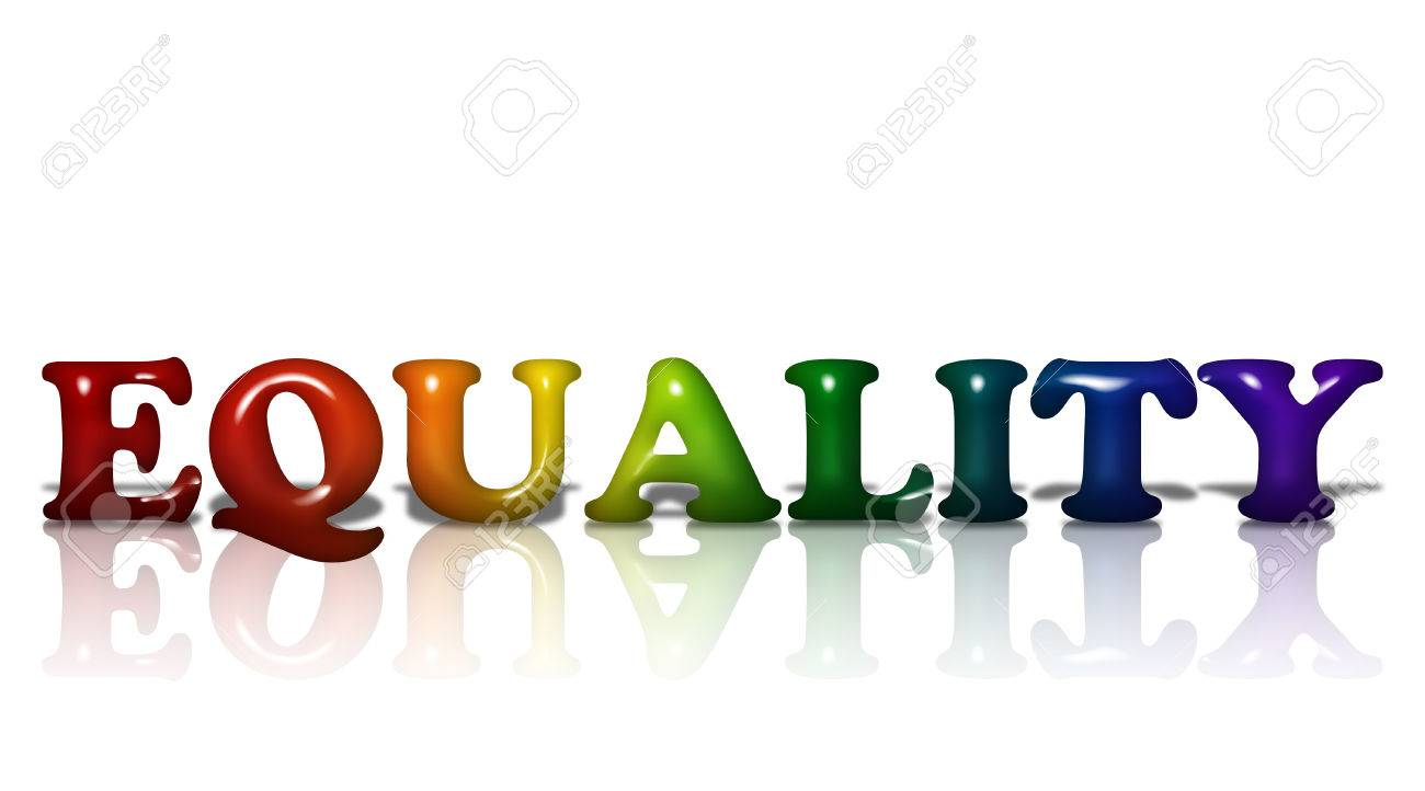 Word Equality in 3D LGBT flag colors isolated on white with copy-space, LGBT Equality Stock Photo - 23005837