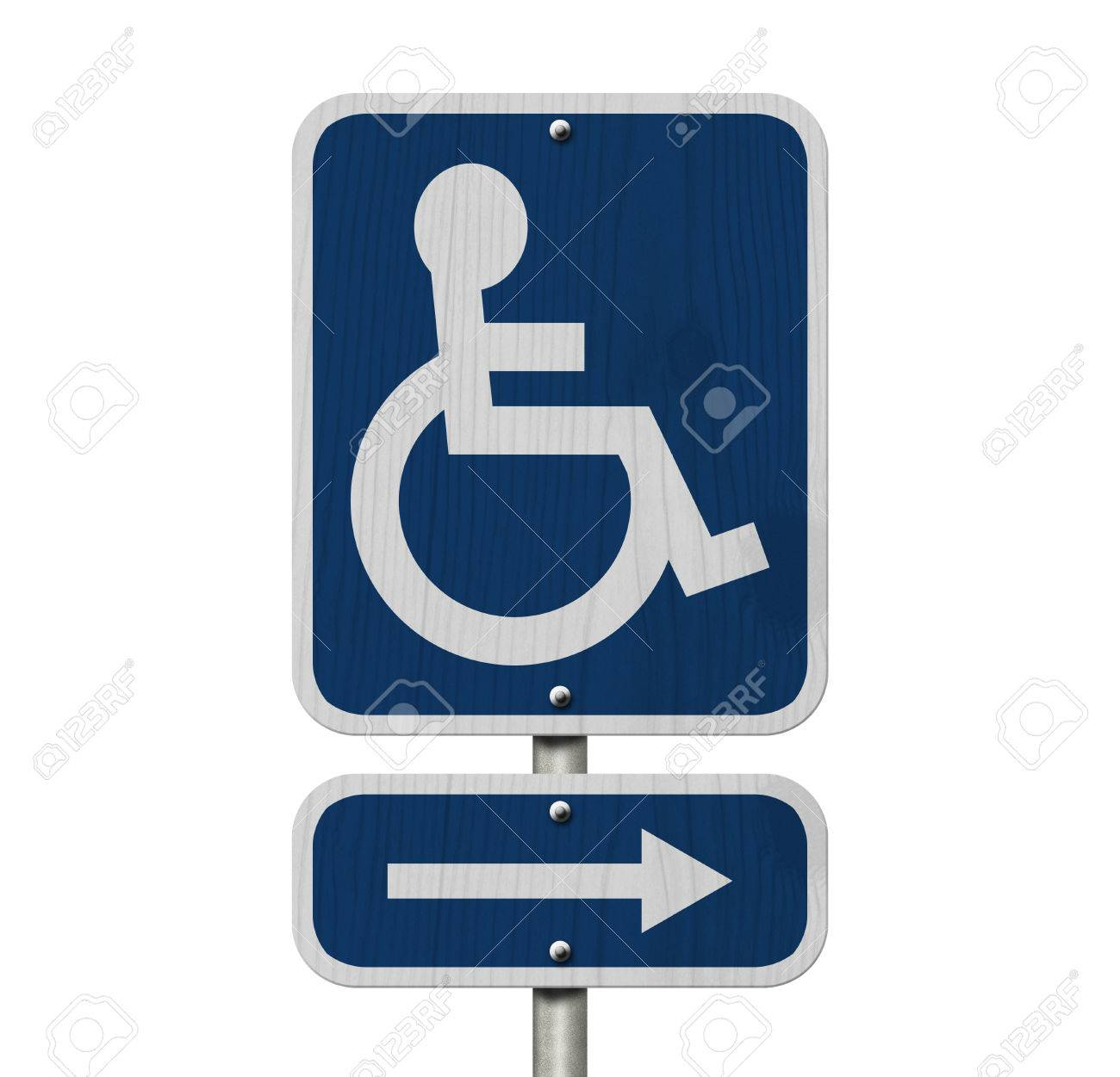 An Blue American Road Sign With Wheelchair And Arrow Isolated Over ...