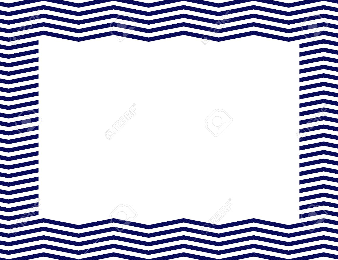 Blue and white chevron pattern background.