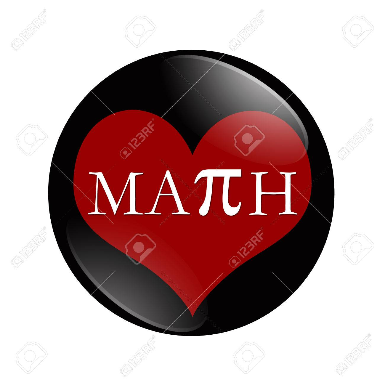 i love math button, a black and red button with word math and