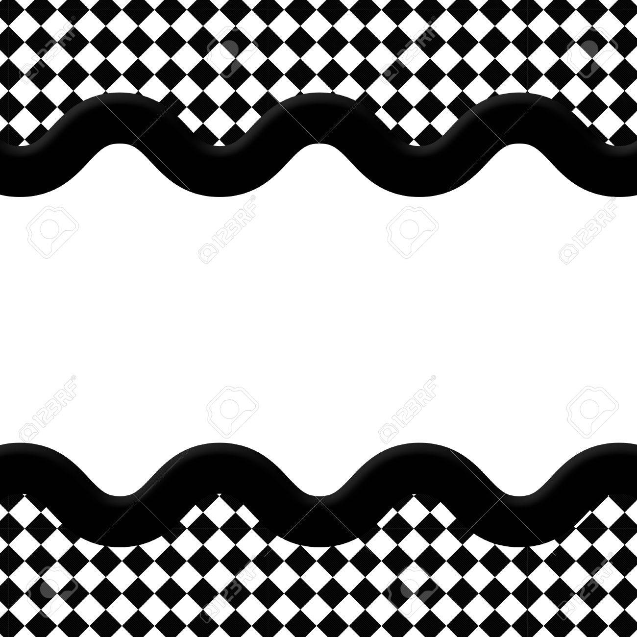 Black And White Diamond Frame With Wave Ribbon Background With ...