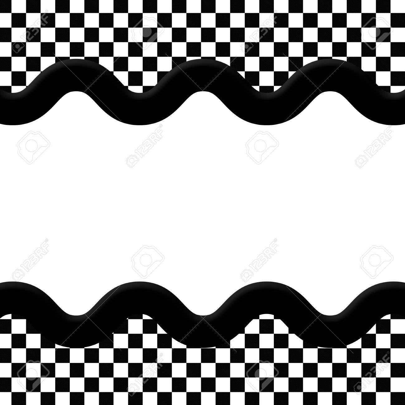 Black And White Checkered Frame With Wave Ribbon Background With