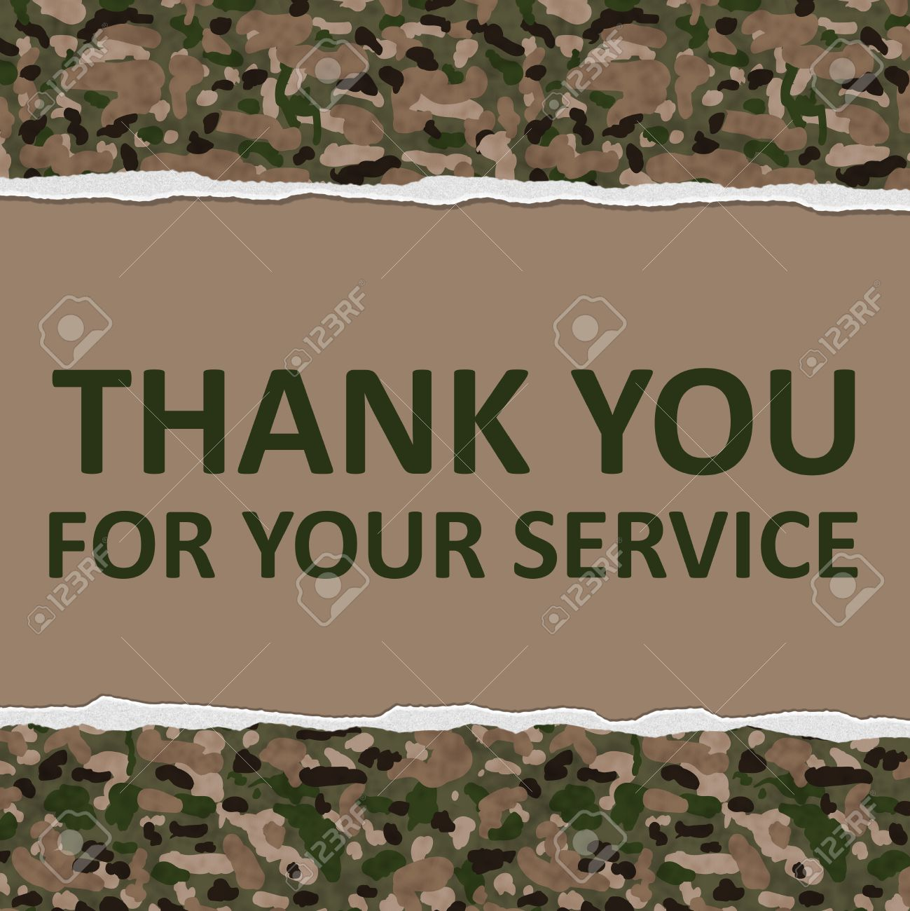 Camouflage Torn Background With Text Thank You For Your Service ...
