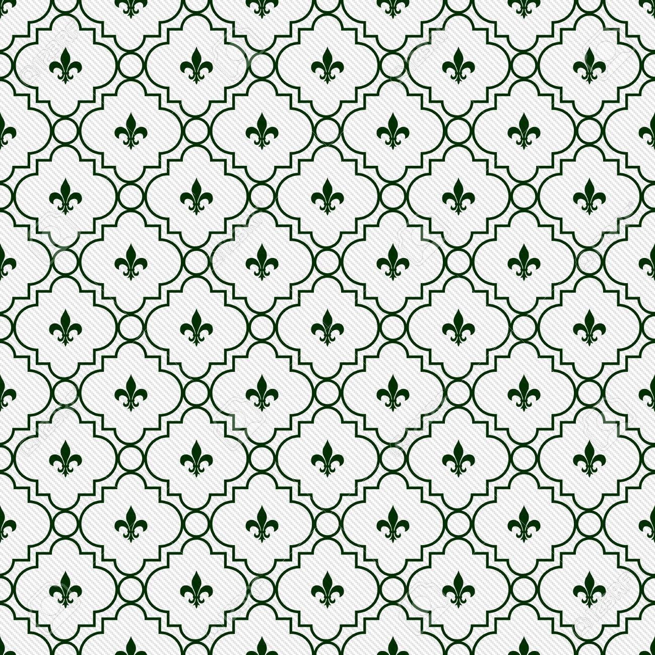 Immagini Stock Sfondo Bianco E Verde Scuro Fleur De Lis Modello