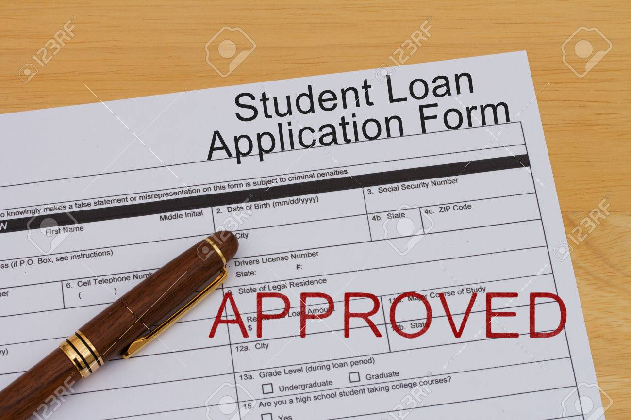 Student Loan Application Form With A Pen And Approved Stamp On – Students Loan Application Form