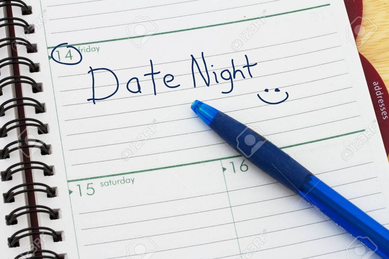 Planning Your Date Night, A Day Blank Day Planner With A Blue ...