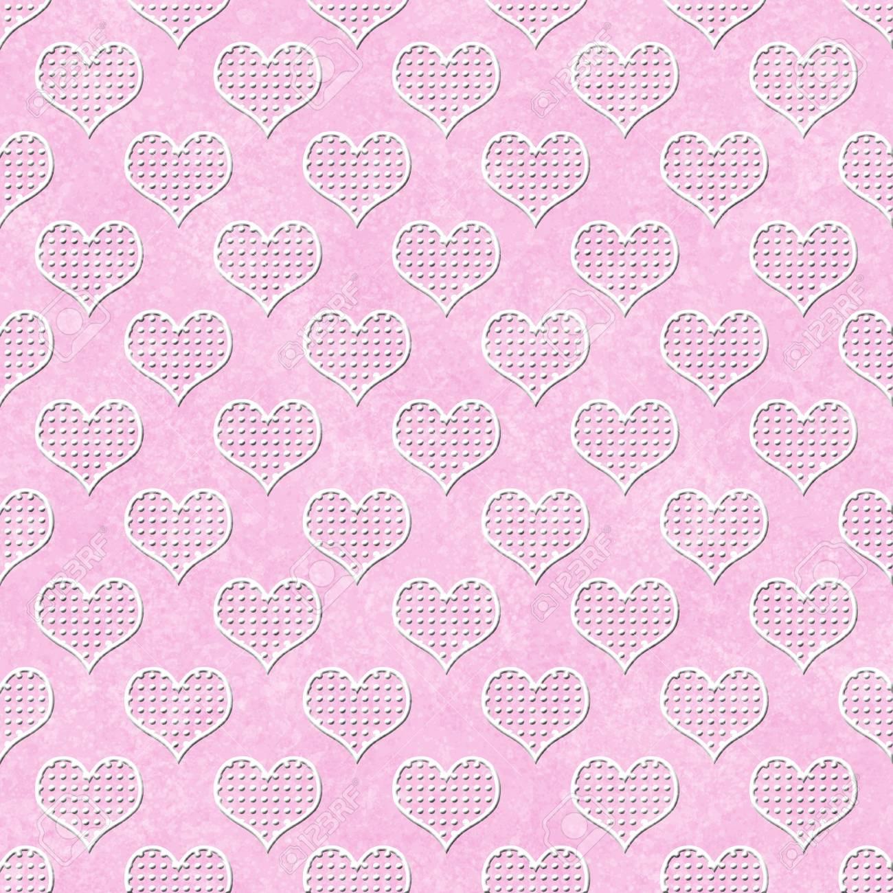 Immagini Stock Rosa E Bianco A Pois Hearts Ripetizione Del Modello