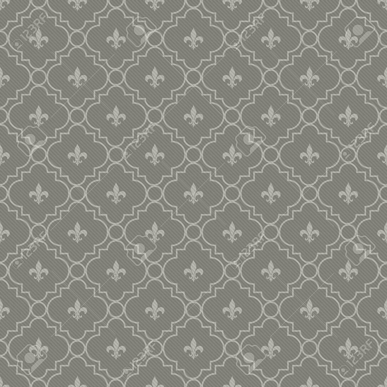 white and dark gray fleur de lis pattern textured fabric background