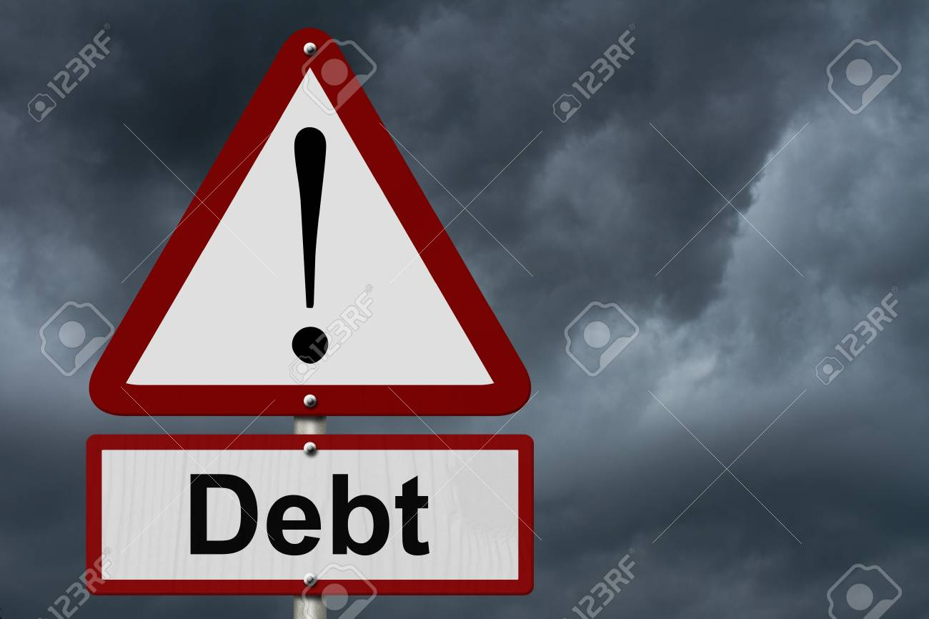 Debt caution sign red and white triangle caution sign with word debt caution sign red and white triangle caution sign with word debt with stormy sky buycottarizona Images