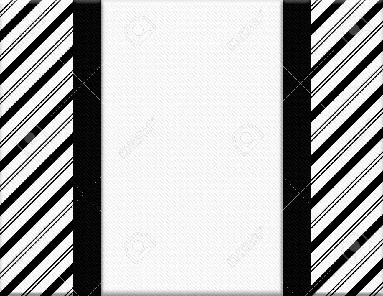 Black And White Striped Frame With Ribbon Background With Center