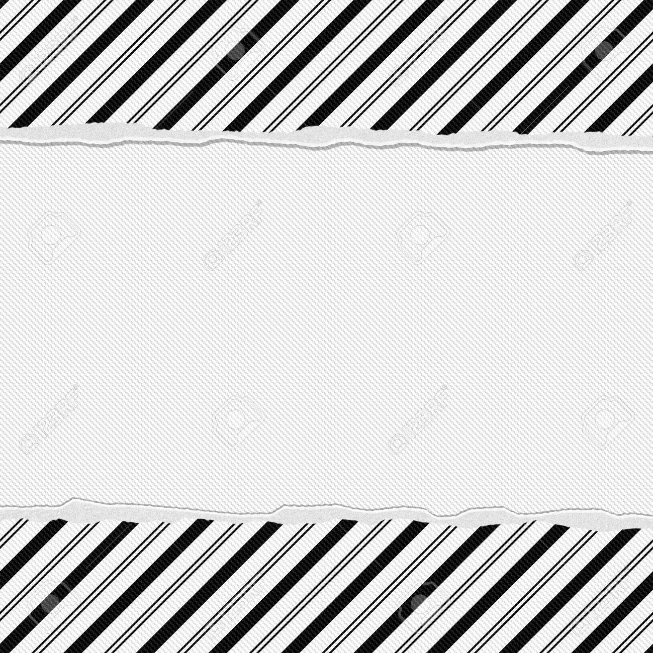 Black And White Striped Frame With Torn Background With Center