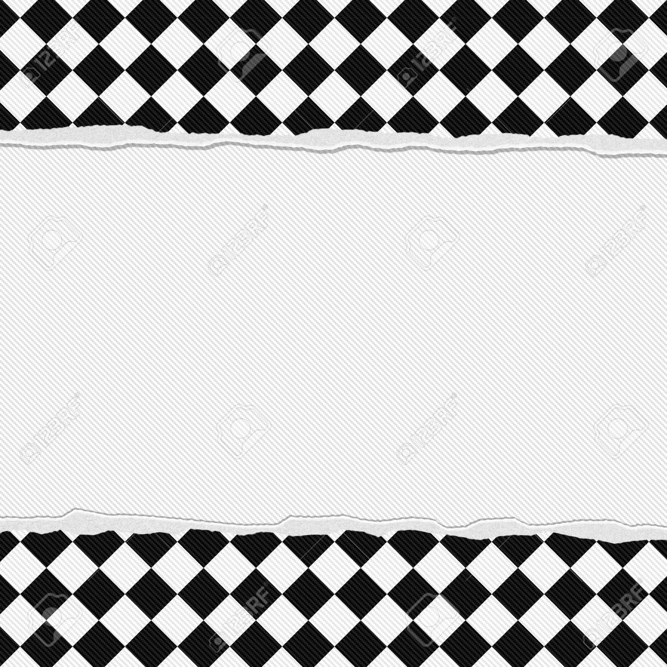 Black And White Checkered Frame With Torn Background With Center