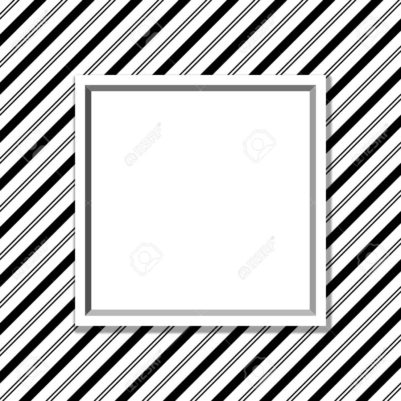 Black And White Striped Background With Frame With Center For