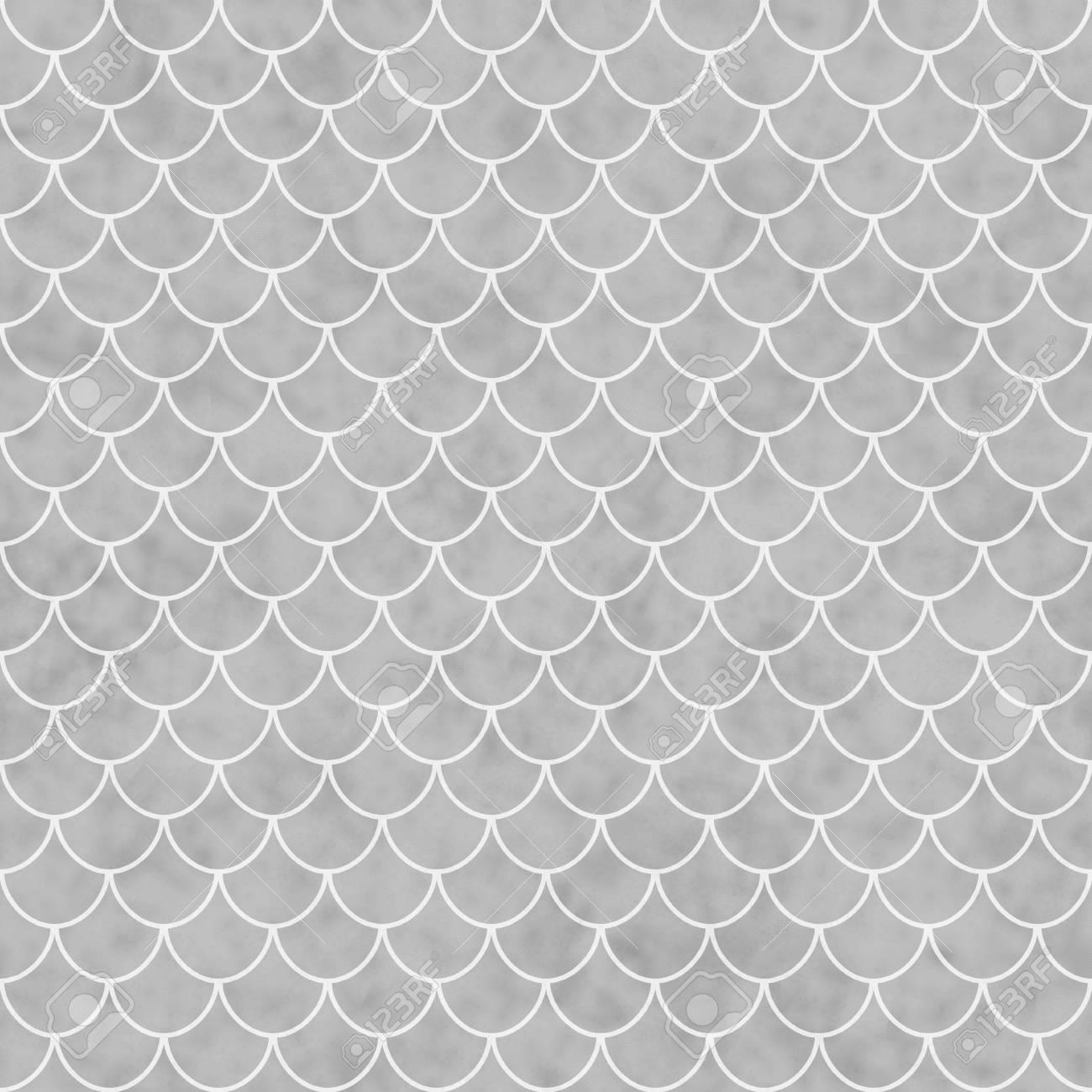 Grau Und Weiss Shell Fliesen Muster Wiederholen Hintergrund Die