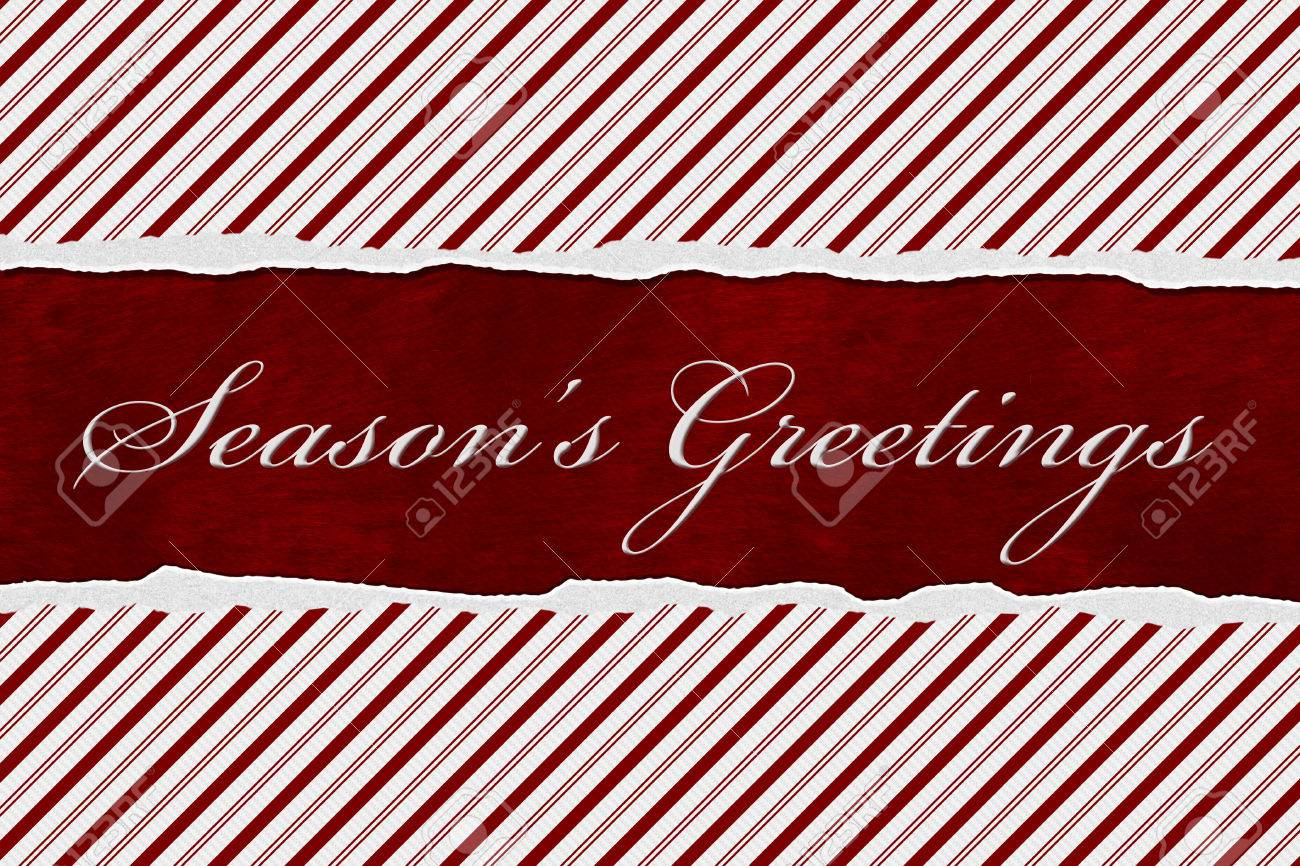 A Seasons Greetings Card A Candy Cane Stripes With Words Seasons