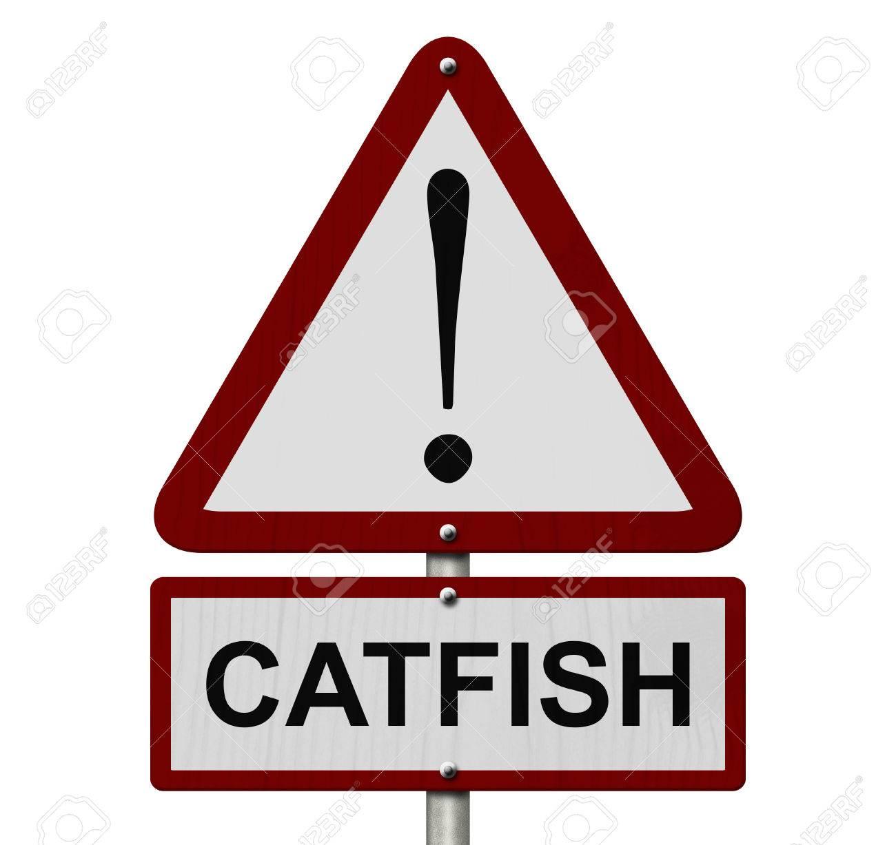 Catfish caution sign red and white triangle caution sign with catfish caution sign red and white triangle caution sign with word catfish isolated on white buycottarizona Images