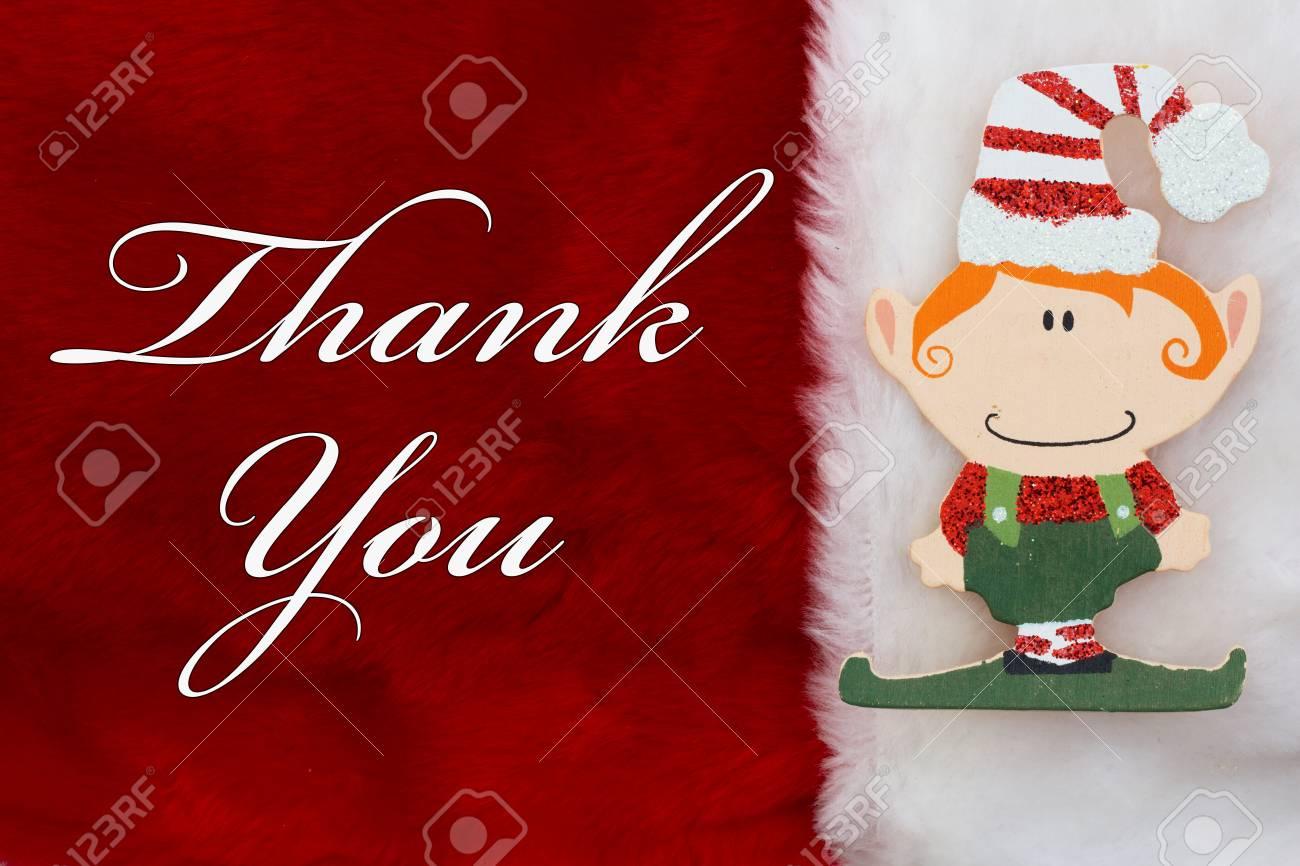 Danke, Eine Plüsch Rote Strumpf Mit Einem Christmas Elf Und Die ...