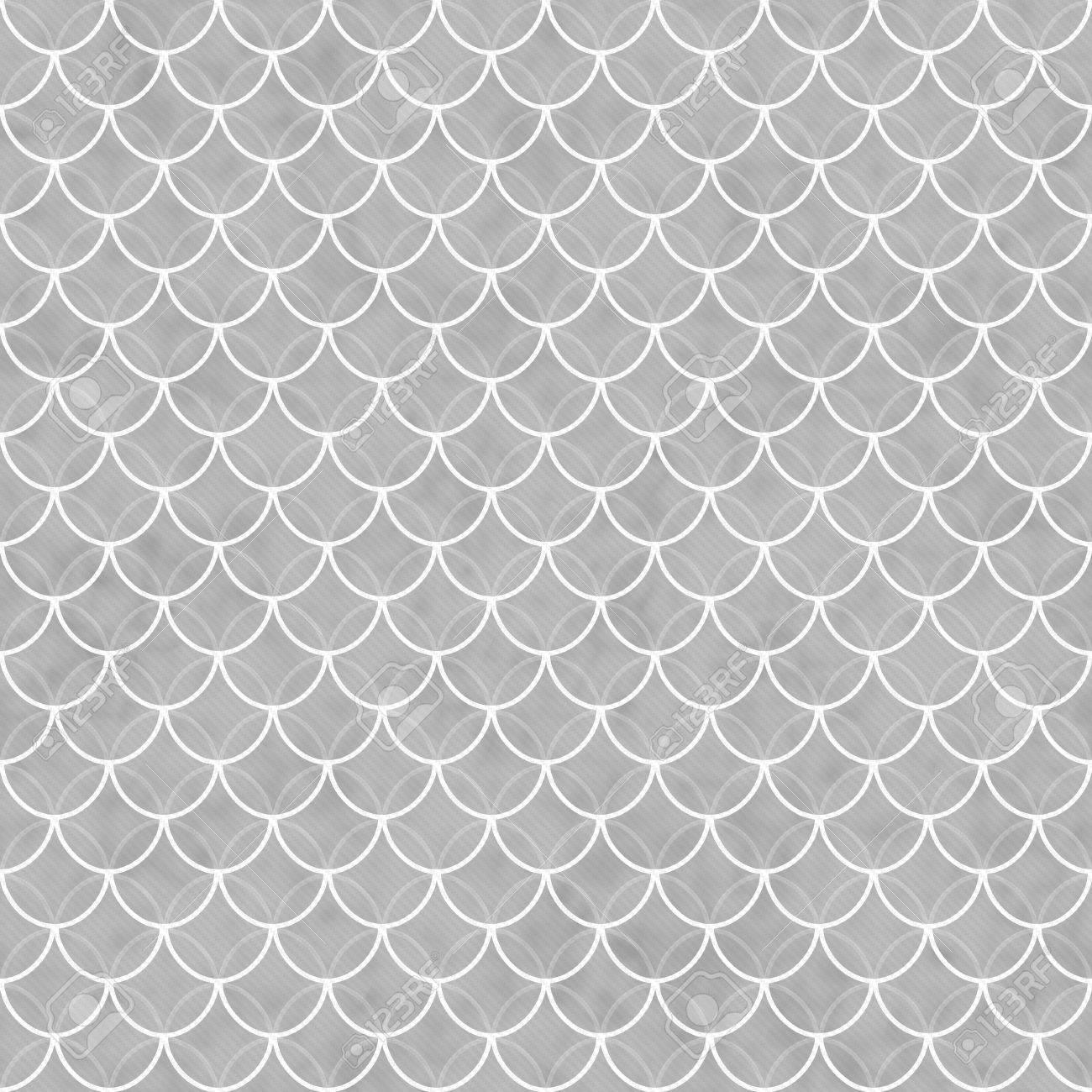 Graue Und Weiße Muscheln Mit Ineinander Greifenden Kreise Fliesen Muster  Wiederholen Hintergrund, Die Nahtlos Und
