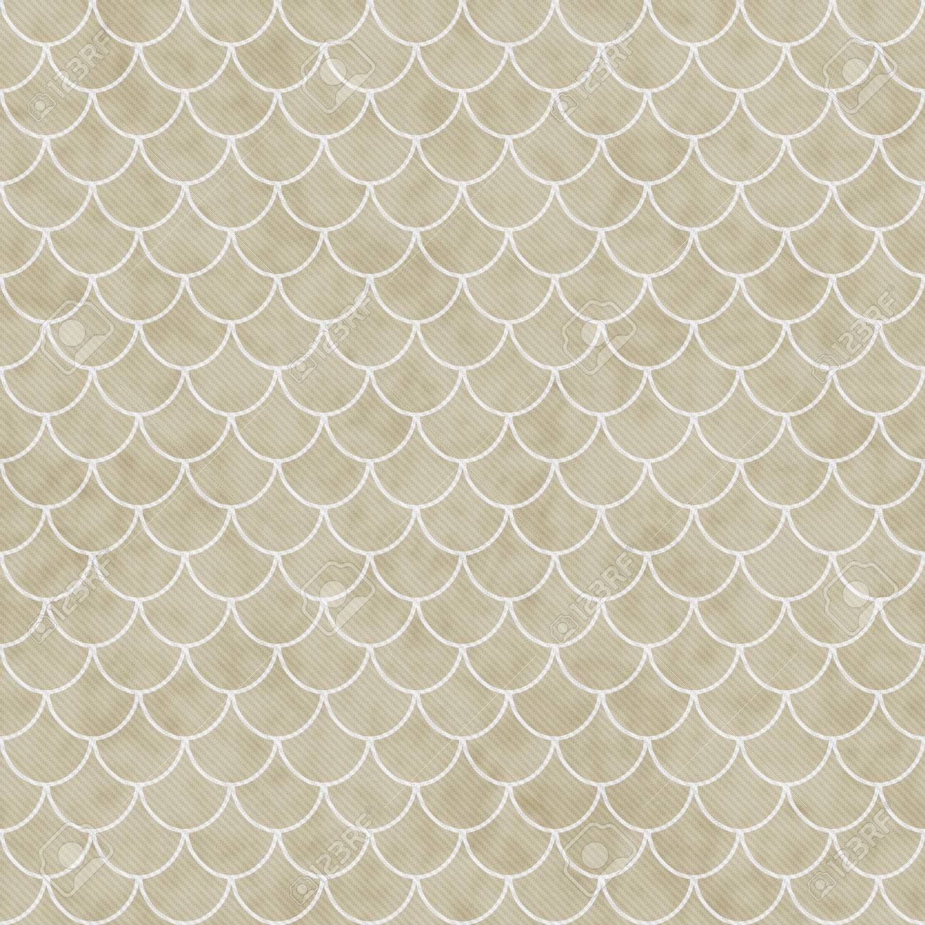 Beige Und Weiß Shell Fliesen Muster Wiederholung Background, Die Nahtlos  Ist Und Wiederholt Standard