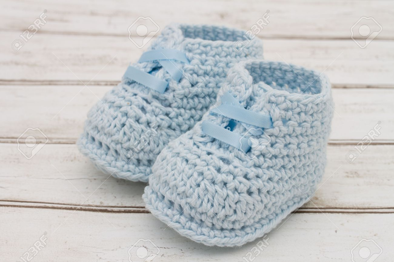 Retro Baby Booties, Pale Blue Baby