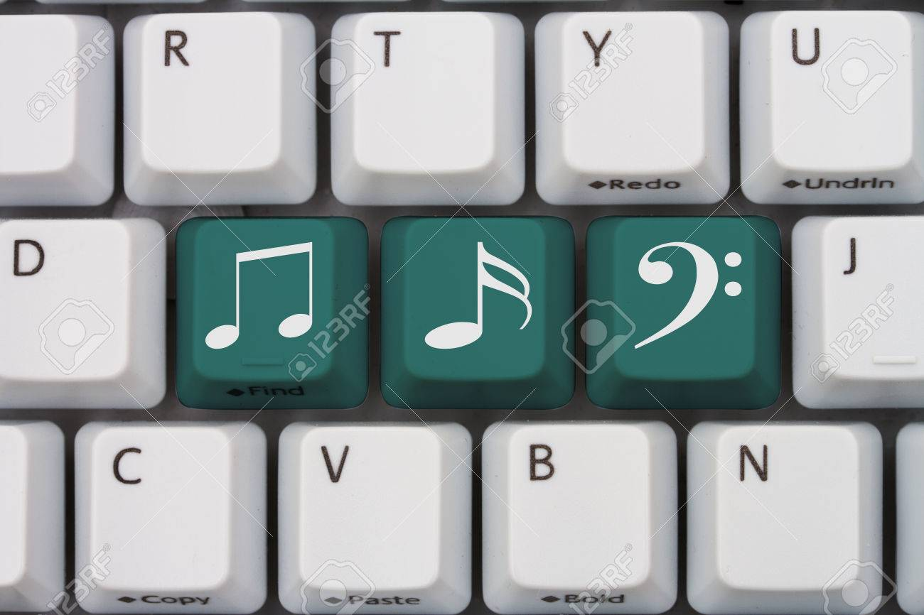 Getting your music online a gray computer keyboard with music getting your music online a gray computer keyboard with music note symbols in teal letters biocorpaavc Image collections