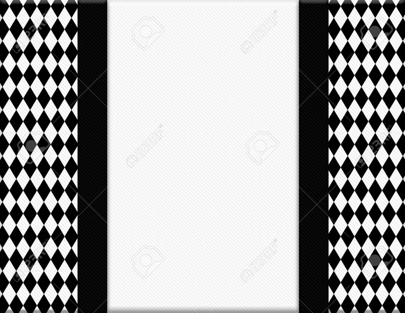 Black And White Diamond Frame With Ribbon Background With Center ...