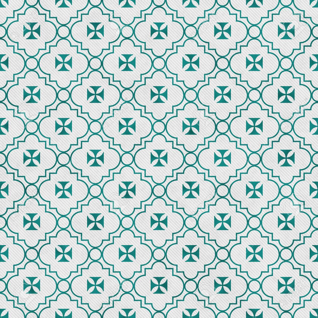 Teal And White Maltese Cross Symbol Tile Pattern Stock Photo ...