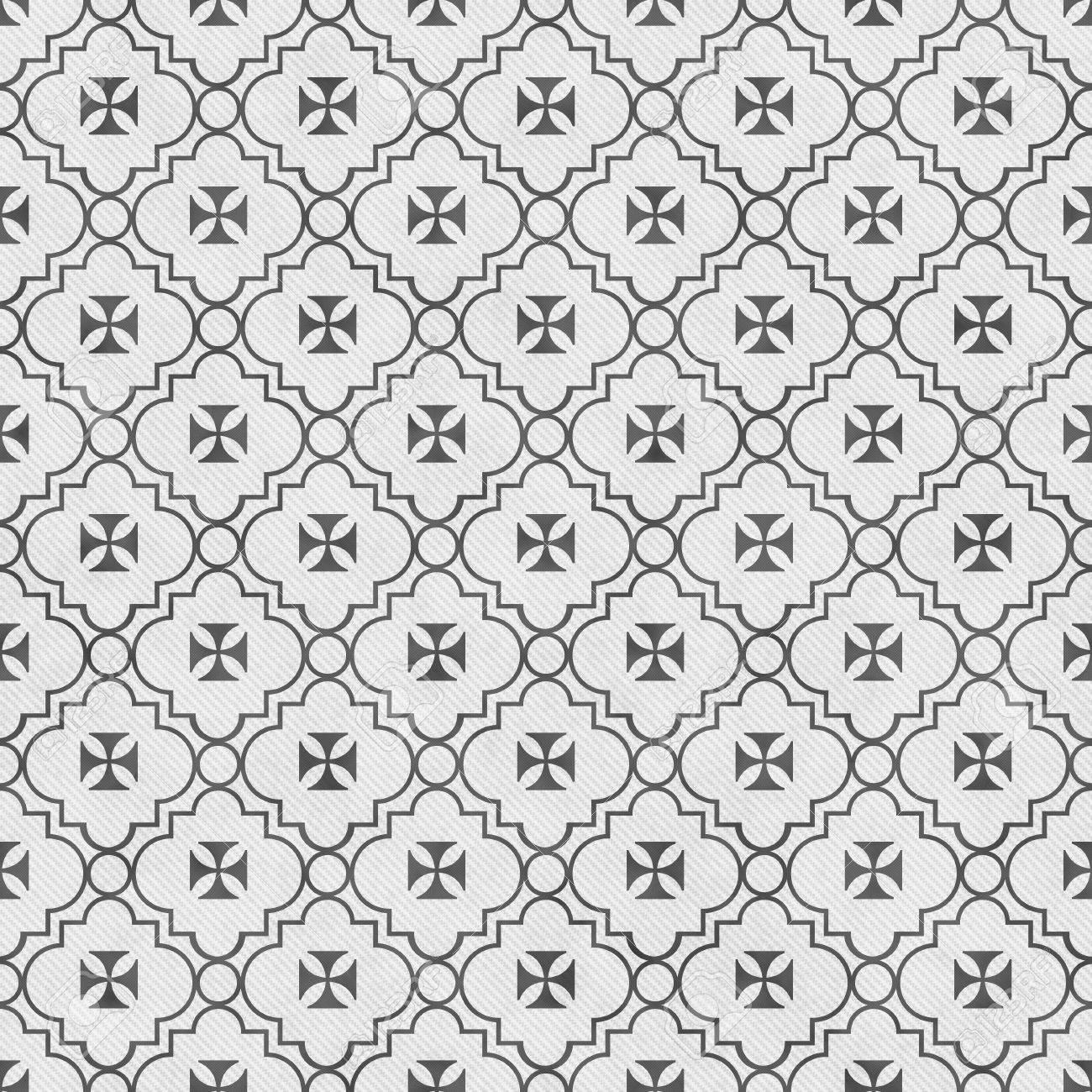 Grau Und Weiss Malteserkreuz Symbol Fliesen Muster Wiederholen