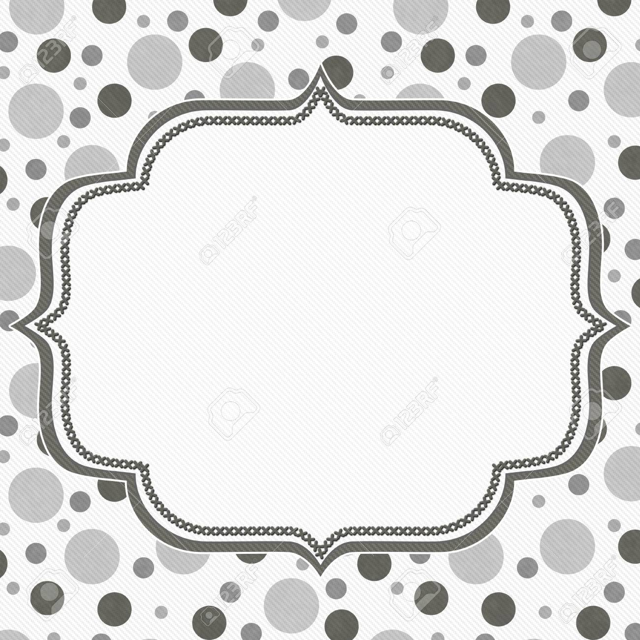 Gray And White Polka Dot Frame With Embroidery Stitches Background ...
